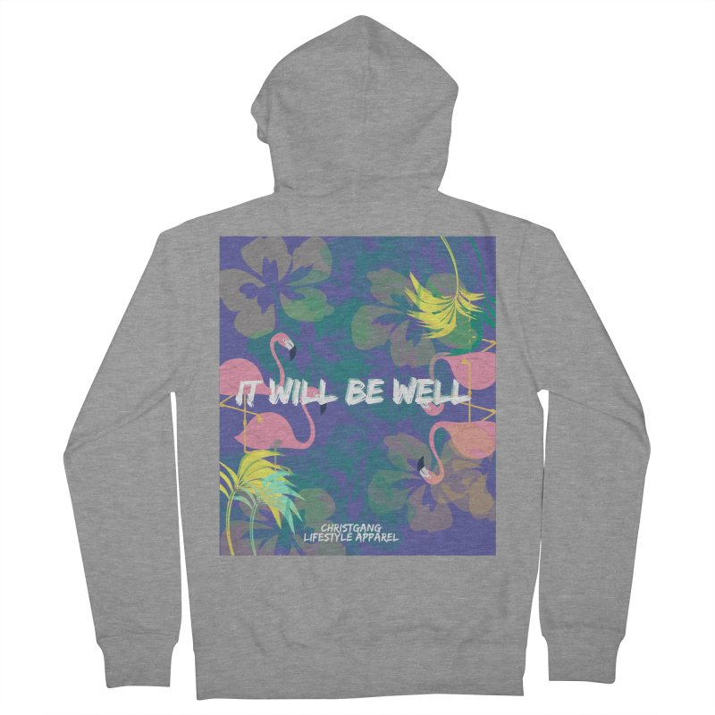 Somewhere In The Tropics Men's French Terry Zip-Up Hoody by ChristGang Apparel
