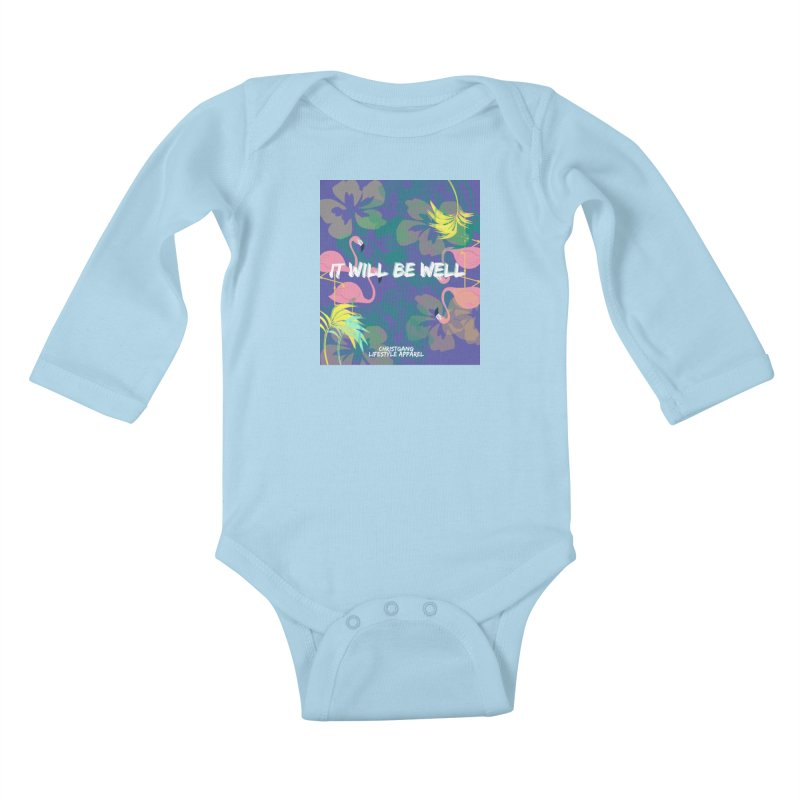 Somewhere In The Tropics Kids Baby Longsleeve Bodysuit by ChristGang Apparel