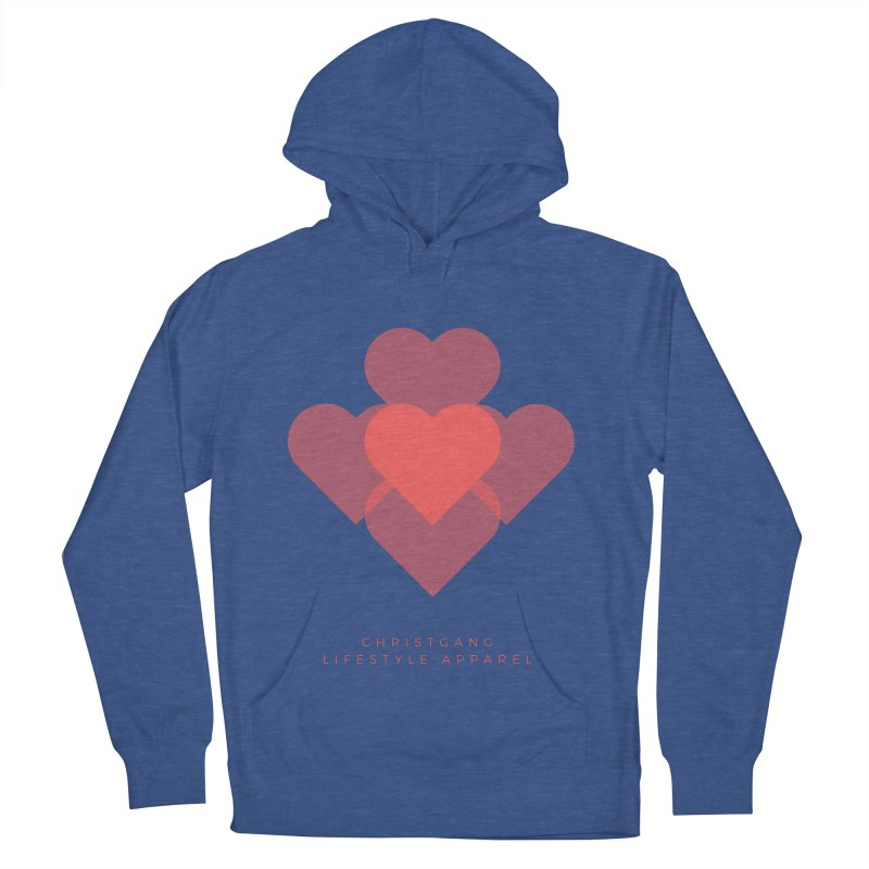 Hearts Men's French Terry Pullover Hoody by ChristGang Apparel