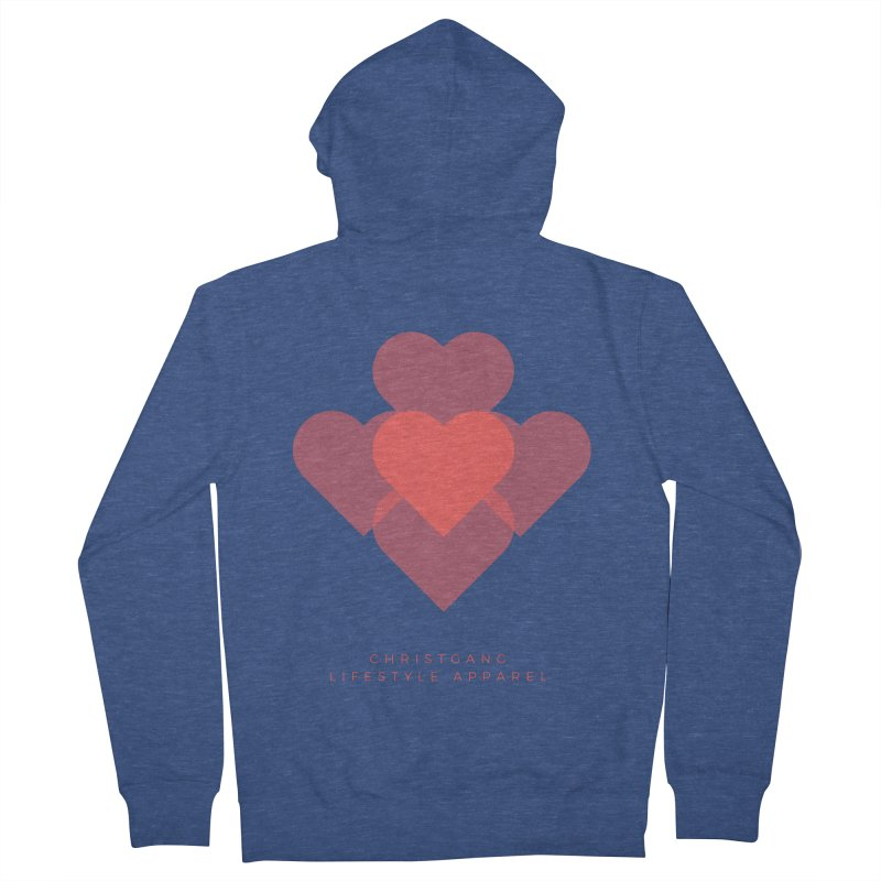 Hearts Women's French Terry Zip-Up Hoody by ChristGang Apparel