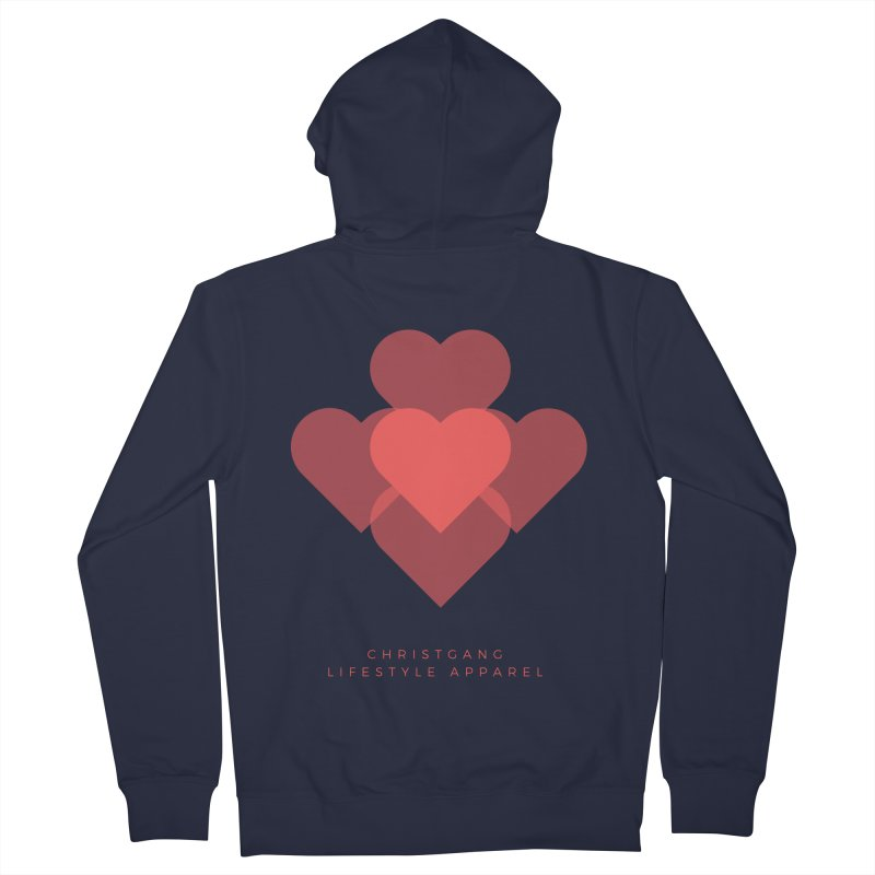 Hearts Men's French Terry Zip-Up Hoody by ChristGang Apparel