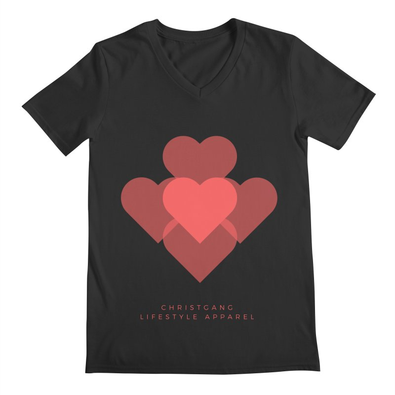 Hearts Men's Regular V-Neck by ChristGang Apparel