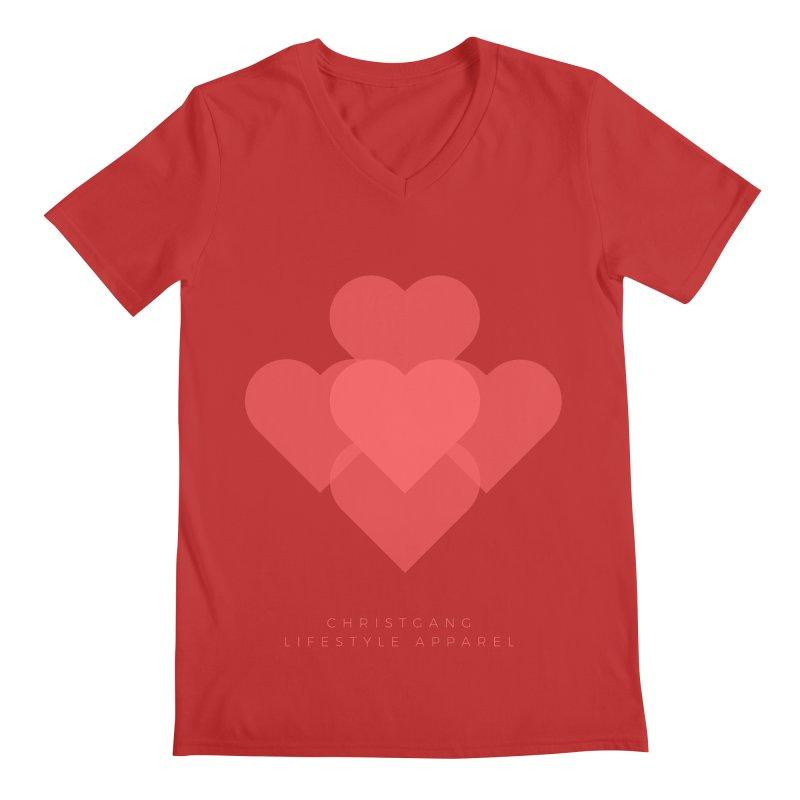 Hearts Men's Regular V-Neck by ChristGang Apparel