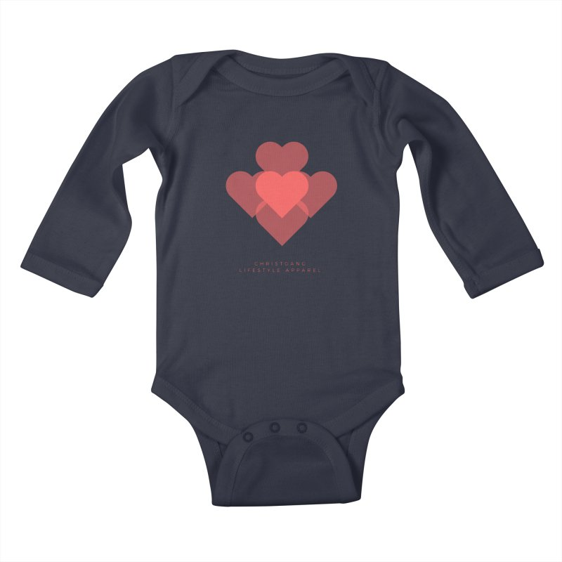 Hearts Kids Baby Longsleeve Bodysuit by ChristGang Apparel