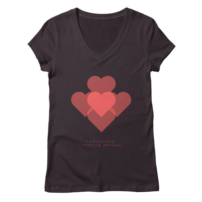 Hearts Women's V-Neck by ChristGang Apparel