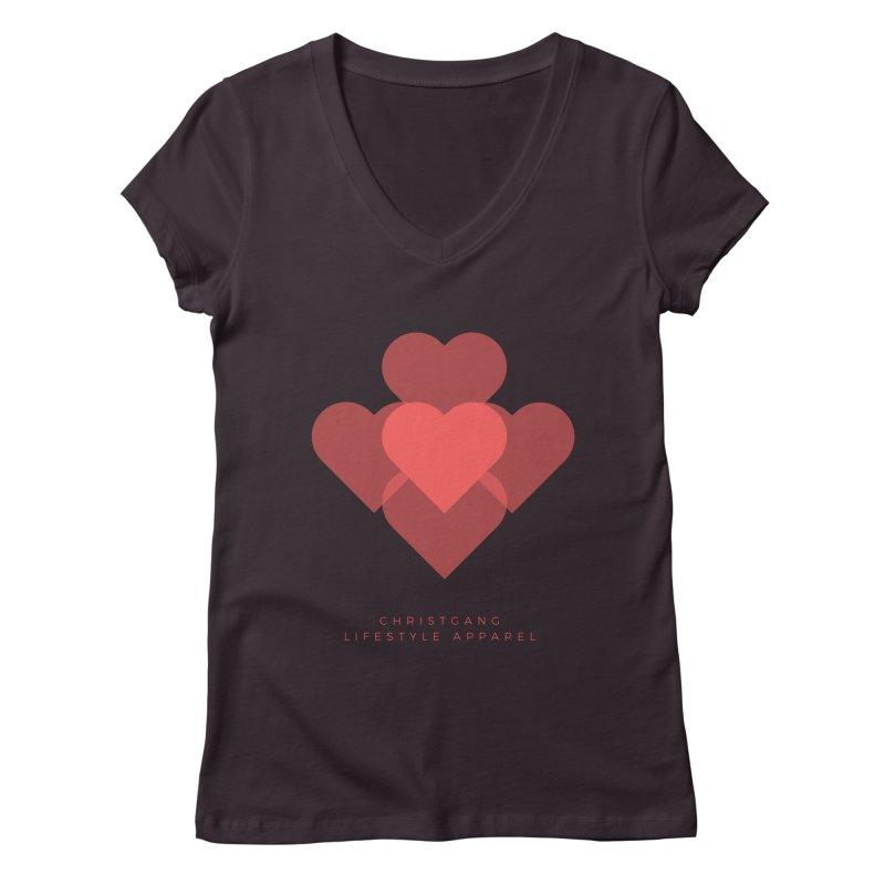 Hearts Women's Regular V-Neck by ChristGang Apparel