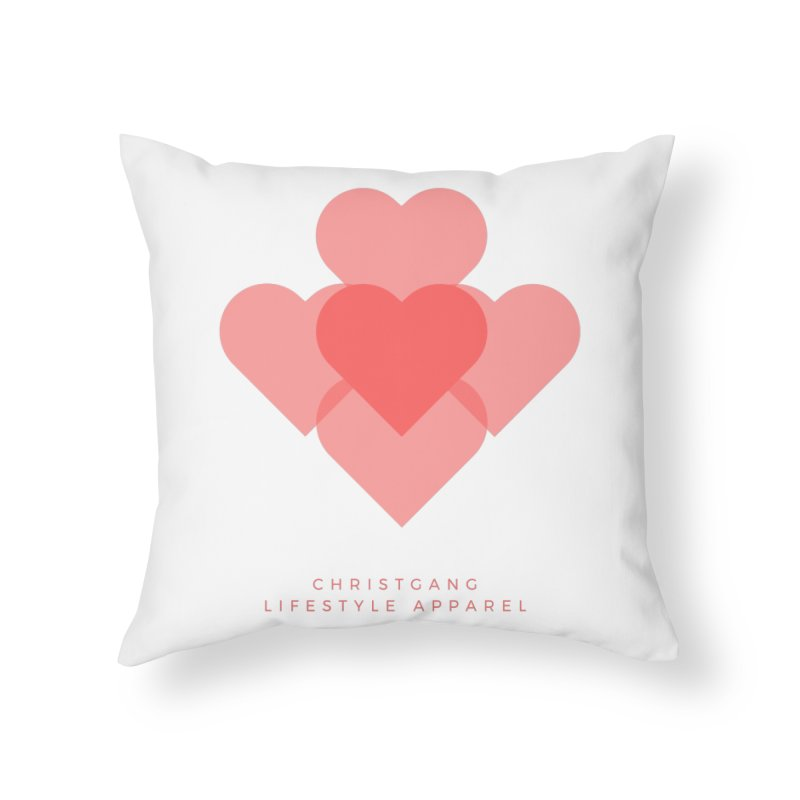 Hearts Home Throw Pillow by ChristGang Apparel