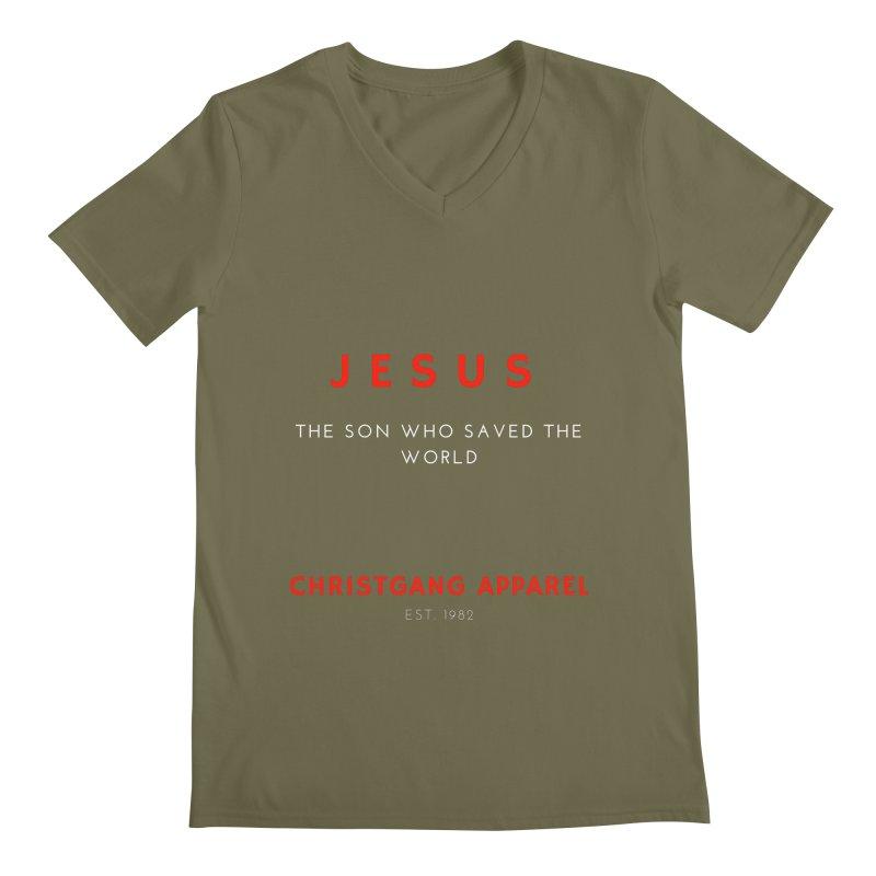 Jesus - The Son Who Saved The World Men's Regular V-Neck by ChristGang Apparel