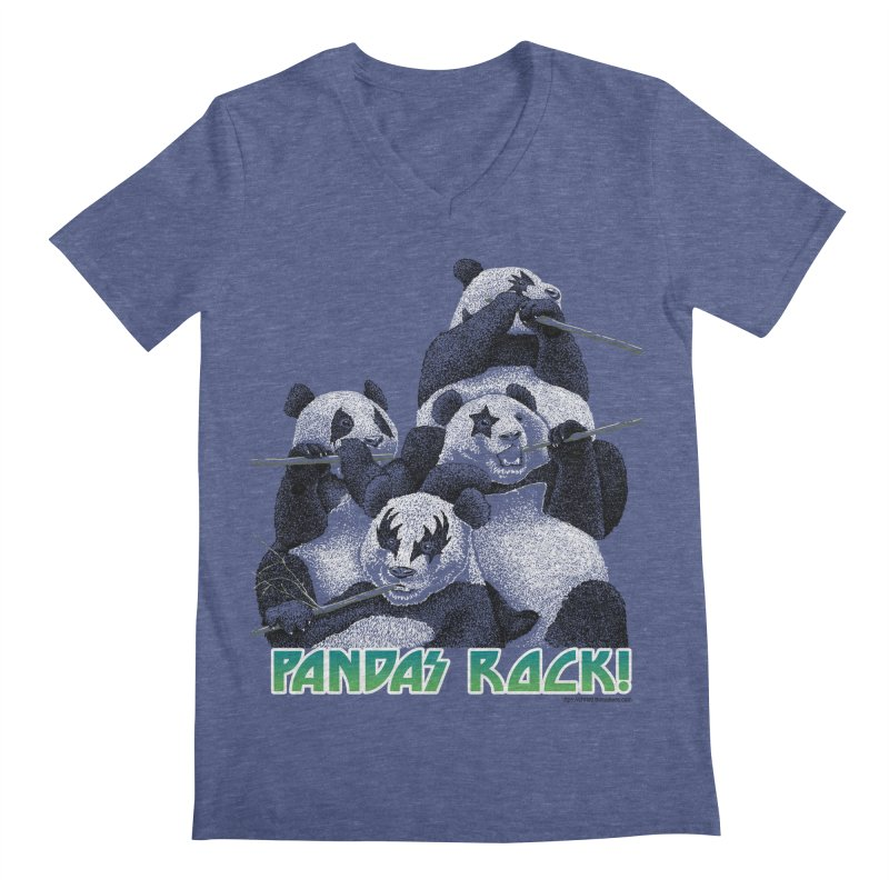 Pandas Rock Men's Regular V-Neck by Christi Kennedy