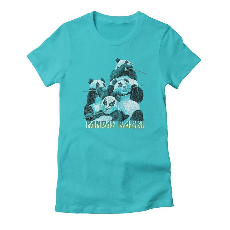 Pandas Rock Women's French Terry Zip-Up Hoody by Christi Kennedy