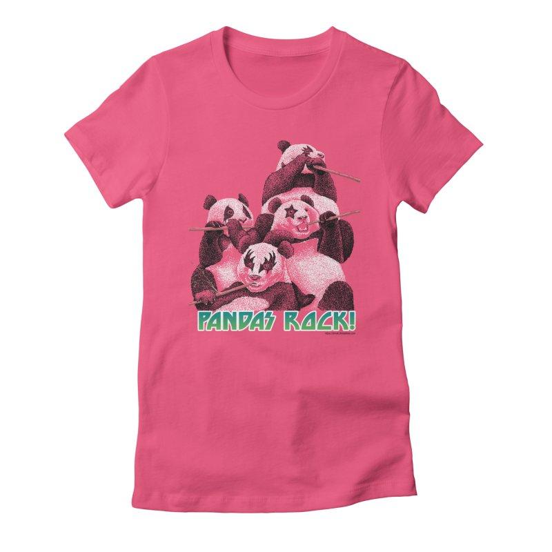 Pandas Rock Women's Fitted T-Shirt by Christi Kennedy