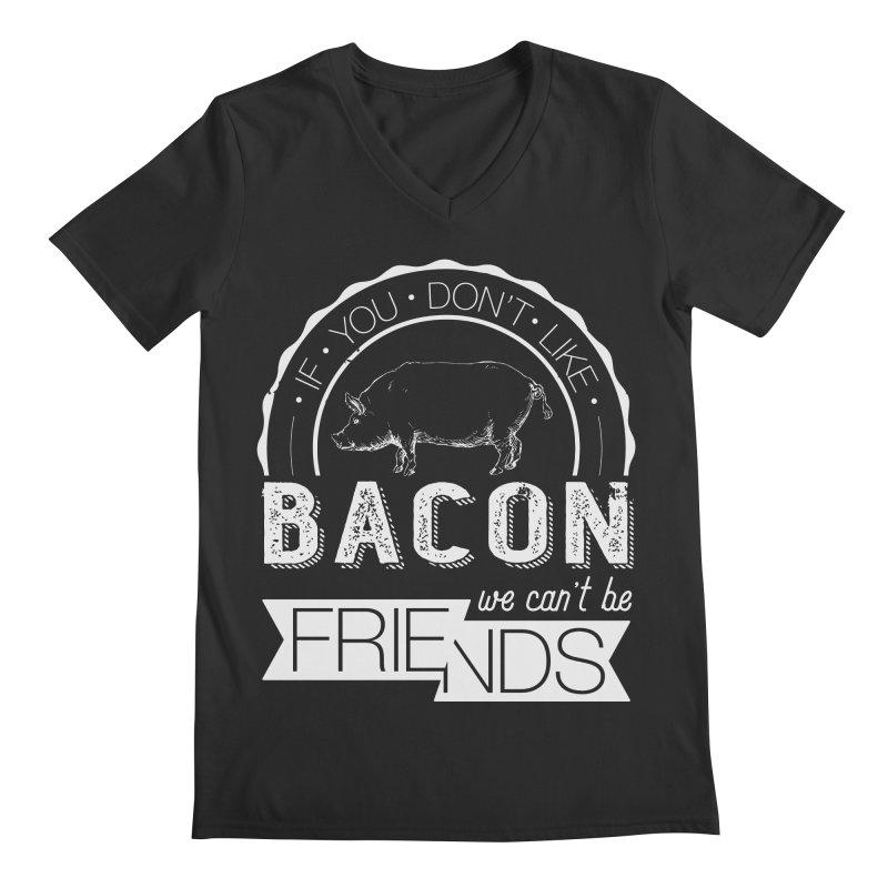 Bacon Friends Men's Regular V-Neck by Christi Kennedy