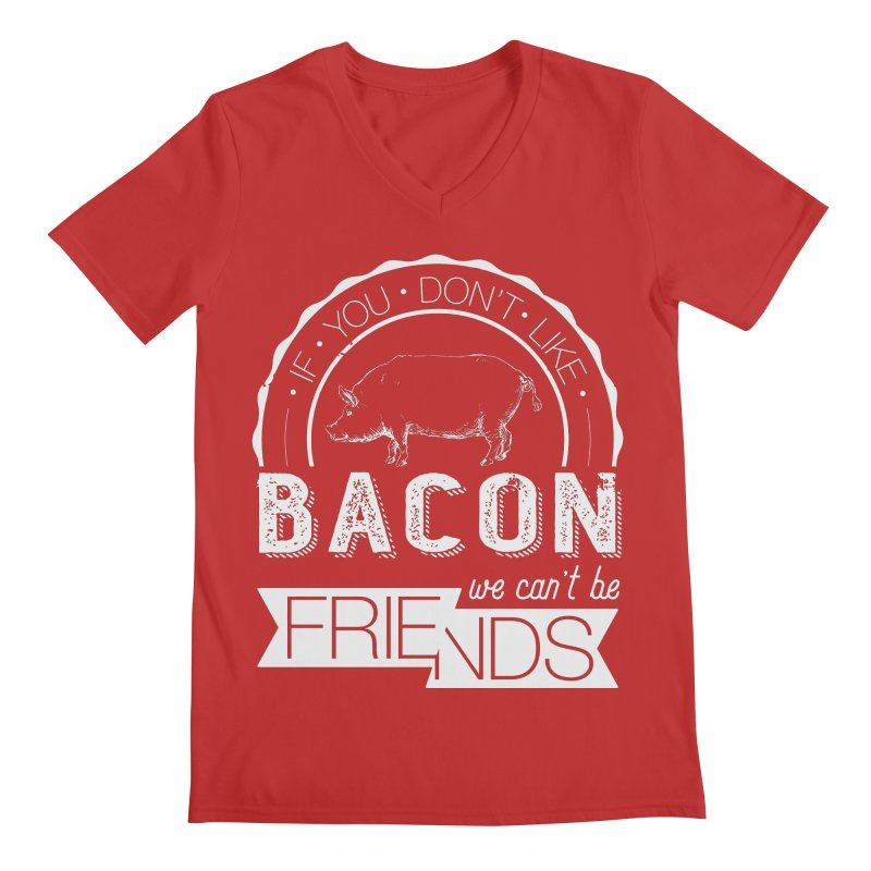 Bacon Friends Men's Regular V-Neck by Christi Kennedy