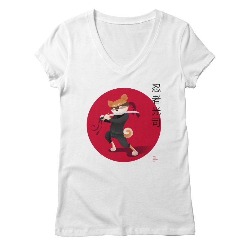 A Ninja Named Koji Women's V-Neck by Christi Kennedy