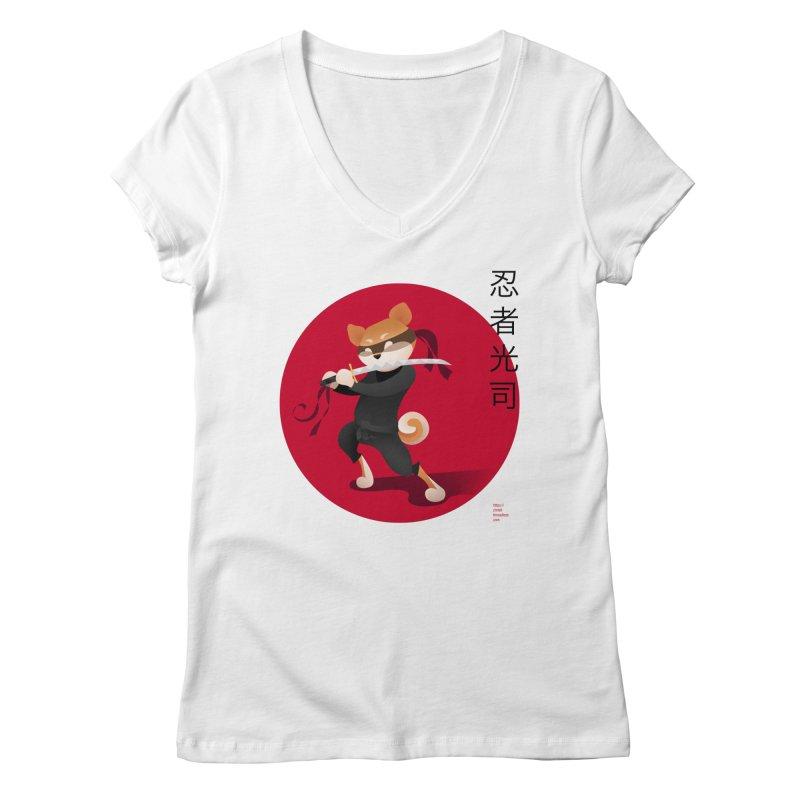 A Ninja Named Koji Women's Regular V-Neck by Christi Kennedy