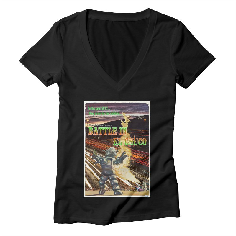 Battle in El Chuco by ChupaCabrales Women's Deep V-Neck V-Neck by ChupaCabrales's Shop