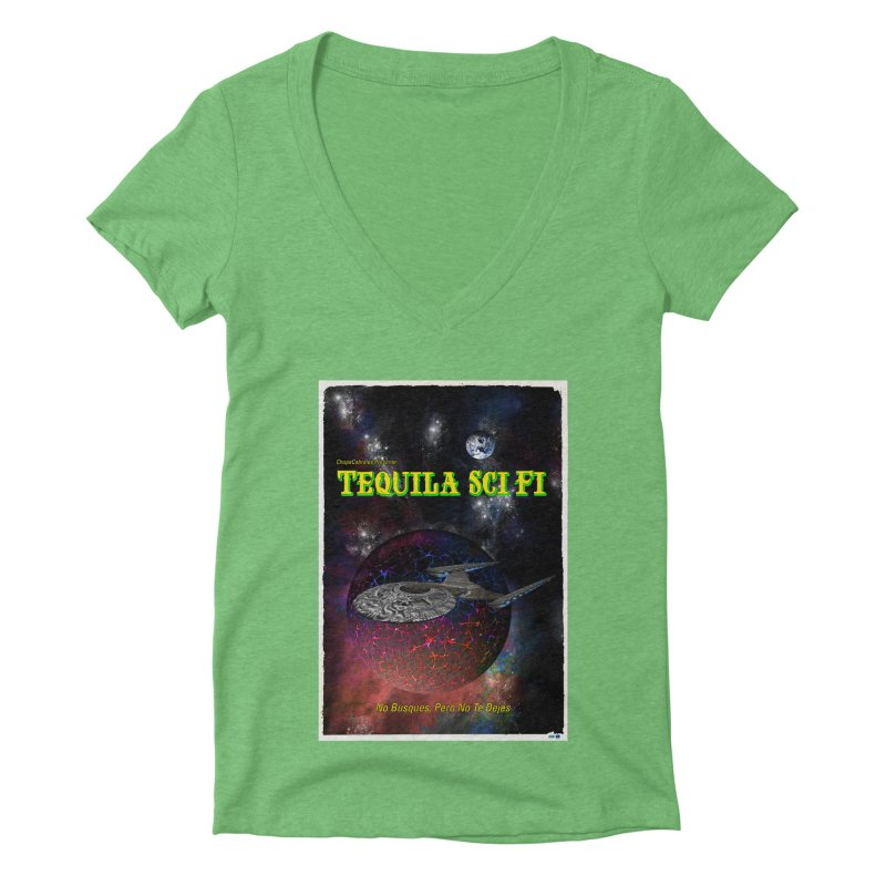 Tequila Sci Fi by ChupaCabrales Women's Deep V-Neck V-Neck by ChupaCabrales's Shop