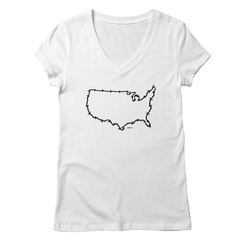 The New Colossus (Give me your tired, your poor...) v.2 by ChupaCabrales Women's V-Neck by ChupaCabrales's Shop