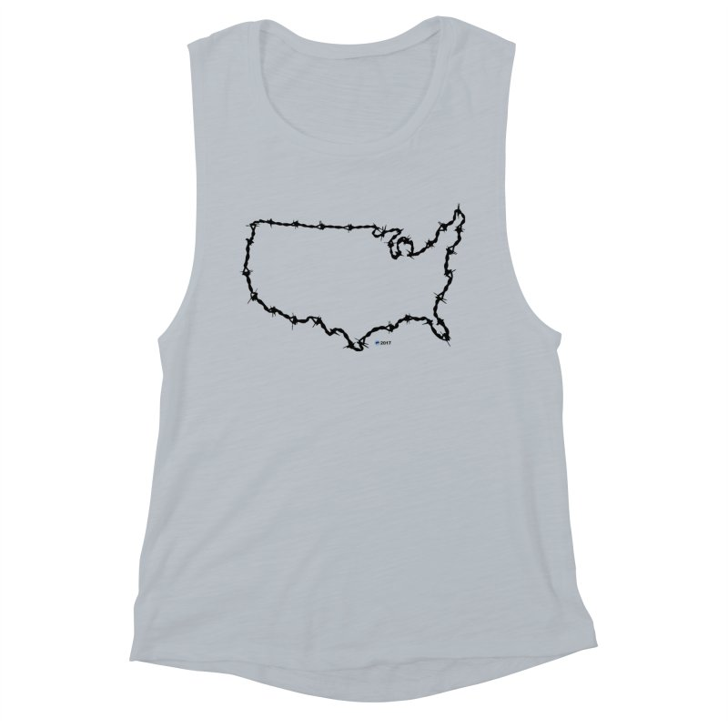 The New Colossus (Give me your tired, your poor...) v.2 by ChupaCabrales Women's Muscle Tank by ChupaCabrales's Shop