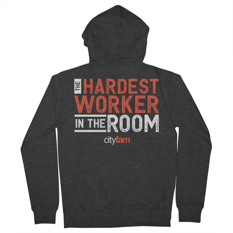Hardest Worker Men's French Terry Zip-Up Hoody by Cityfam's Artist Shop