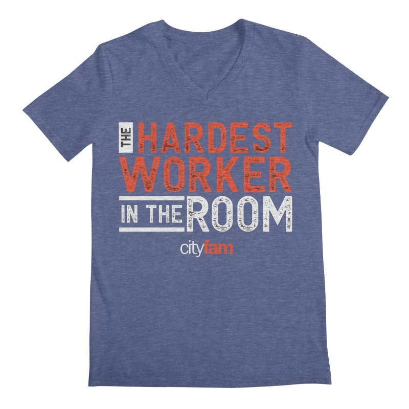 Hardest Worker Men's Regular V-Neck by Cityfam's Artist Shop