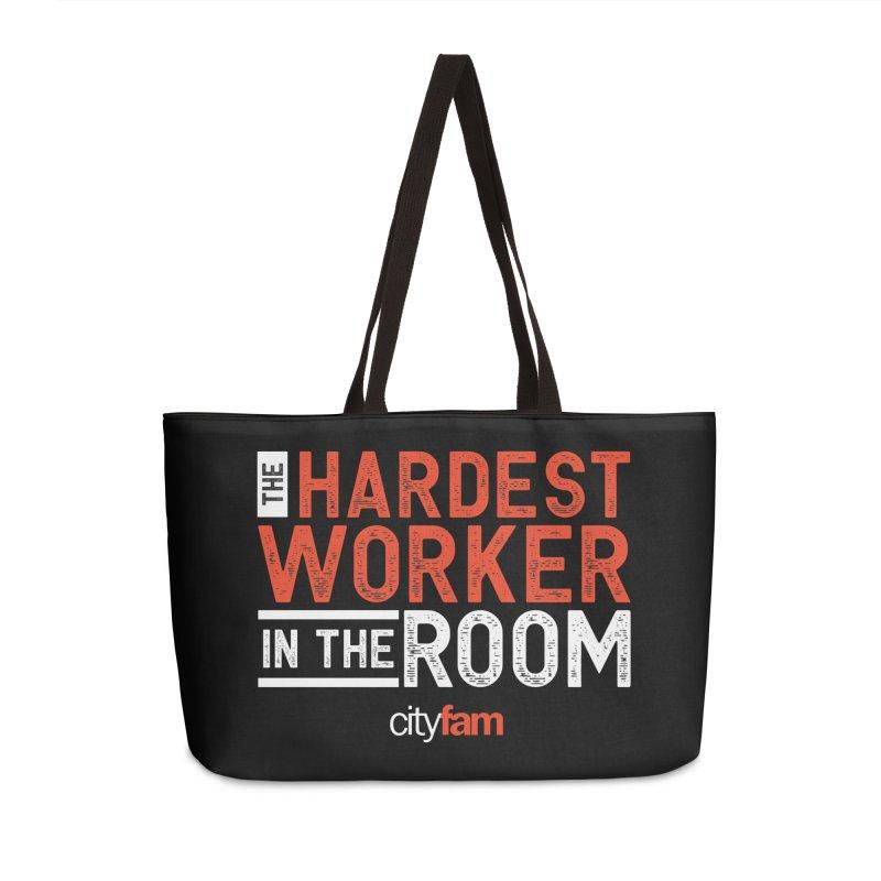 Hardest Worker Accessories Weekender Bag Bag by City Fam's Artist Shop