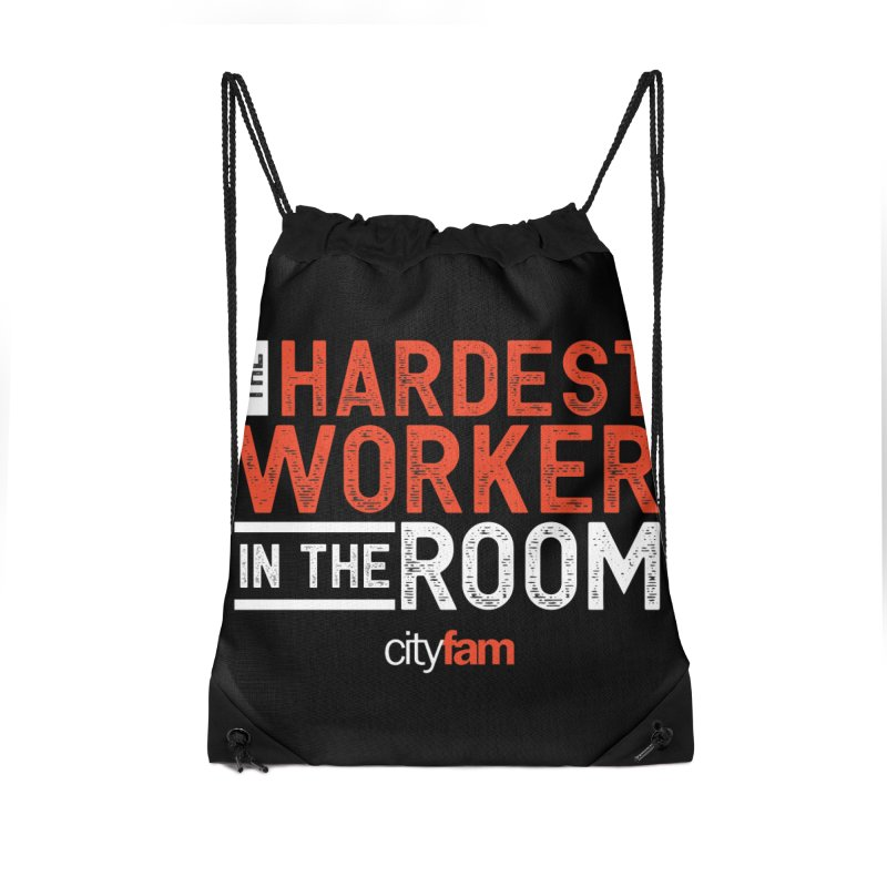 Hardest Worker Accessories Drawstring Bag Bag by City Fam's Artist Shop
