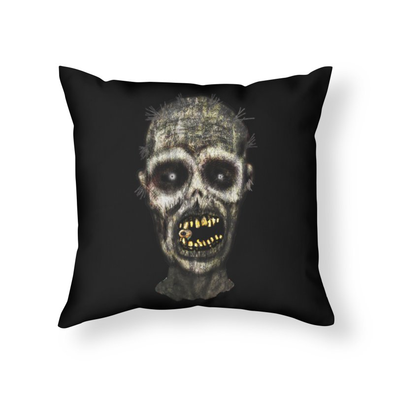 Zombie Head Home Throw Pillow by ClaytonArtistry's Artist Shop