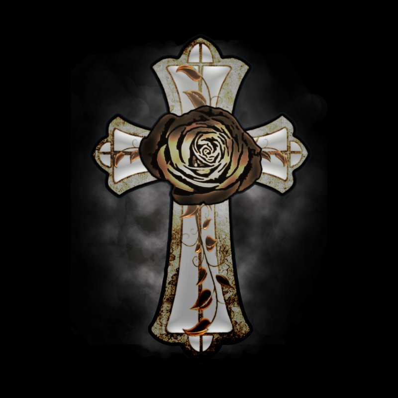 Gothic Rose Cross with Amber Ivory and Smoke Home Throw Pillow by ClaytonArtistry's Artist Shop