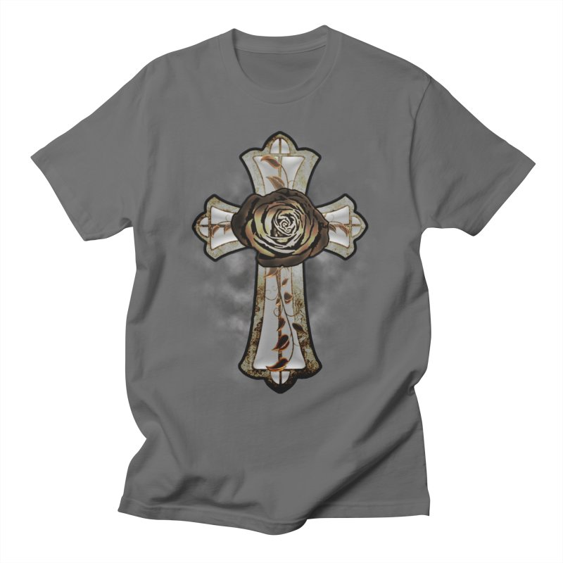 Gothic Rose Cross with Amber Ivory and Smoke Men's T-Shirt by ClaytonArtistry's Artist Shop