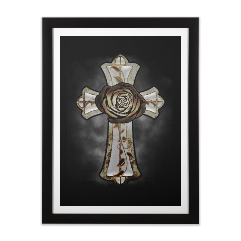 Gothic Rose Cross with Amber Ivory and Smoke Home Framed Fine Art Print by ClaytonArtistry's Artist Shop
