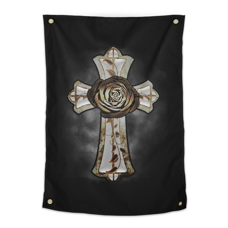 Gothic Rose Cross with Amber Ivory and Smoke Home Tapestry by ClaytonArtistry's Artist Shop