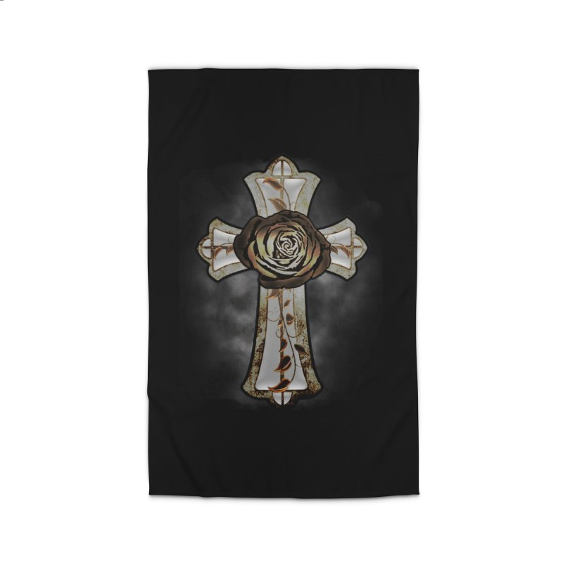 Gothic Rose Cross with Amber Ivory and Smoke Home Rug by ClaytonArtistry's Artist Shop