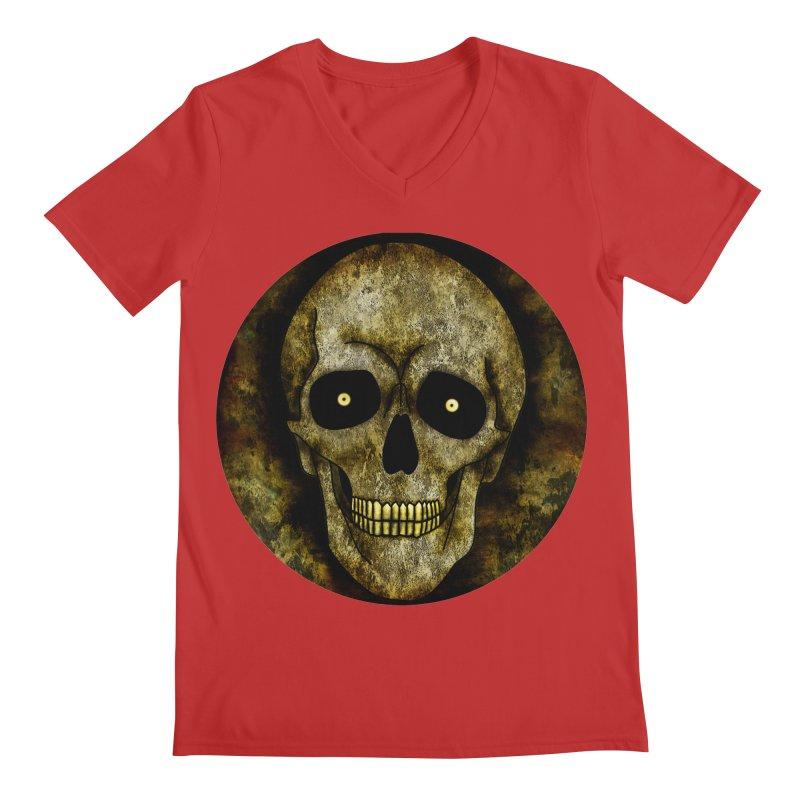 Posterized Grunge Skull Men's V-Neck by ClaytonArtistry's Artist Shop