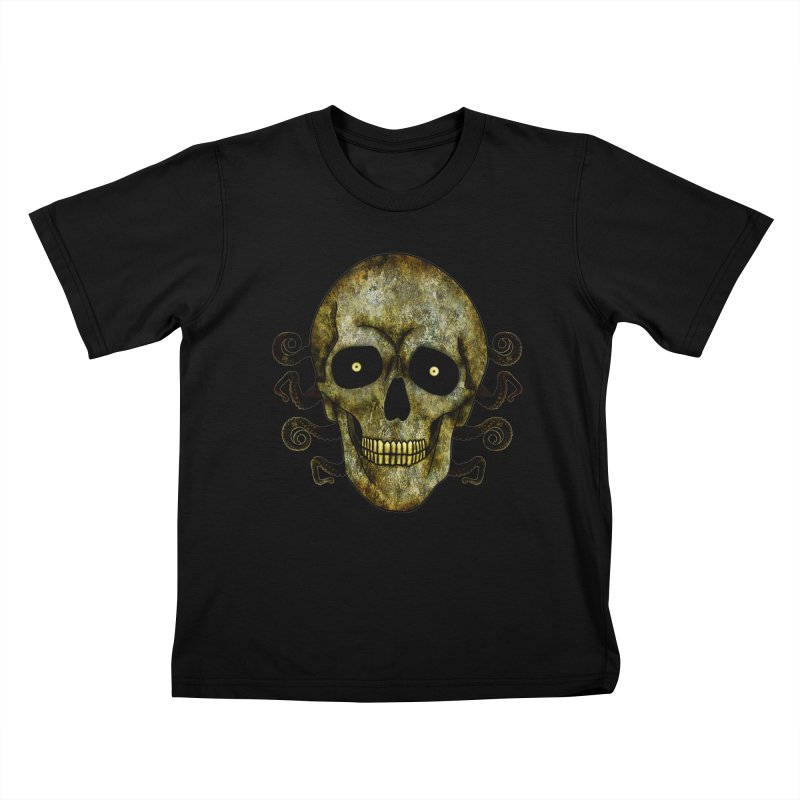 Posterized Grunge Skull 2 Kids T-Shirt by ClaytonArtistry's Artist Shop