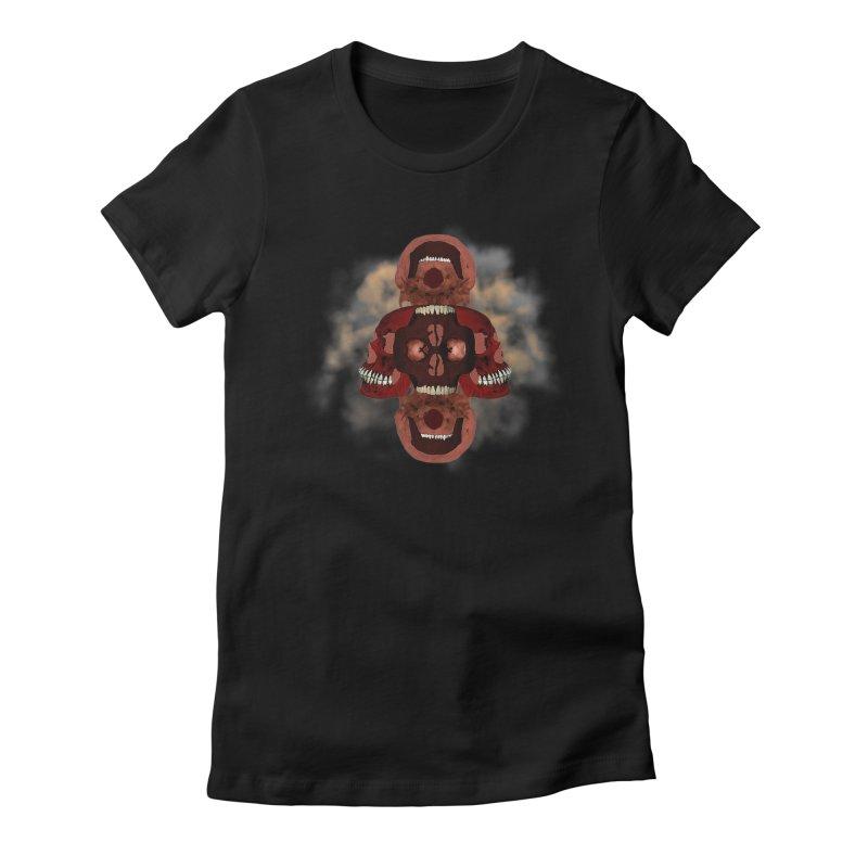 Cubist Red Skulls in Smoke Women's T-Shirt by ClaytonArtistry's Artist Shop