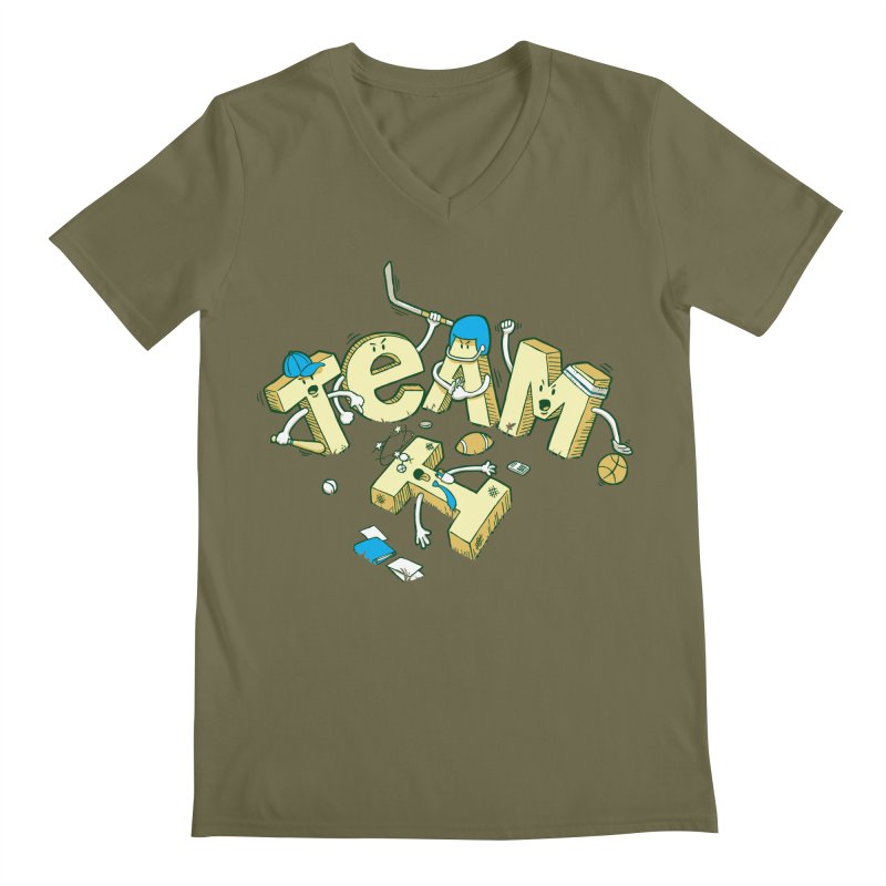 There's no 'I' in team Men's Regular V-Neck by Claytondixon's Artist Shop