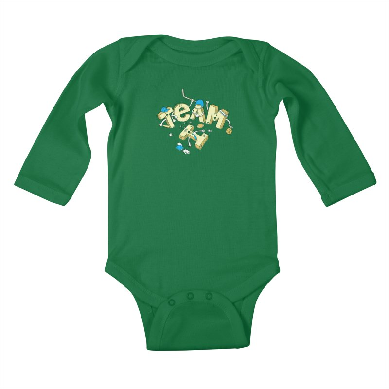 There's no 'I' in team Kids Baby Longsleeve Bodysuit by Claytondixon's Artist Shop