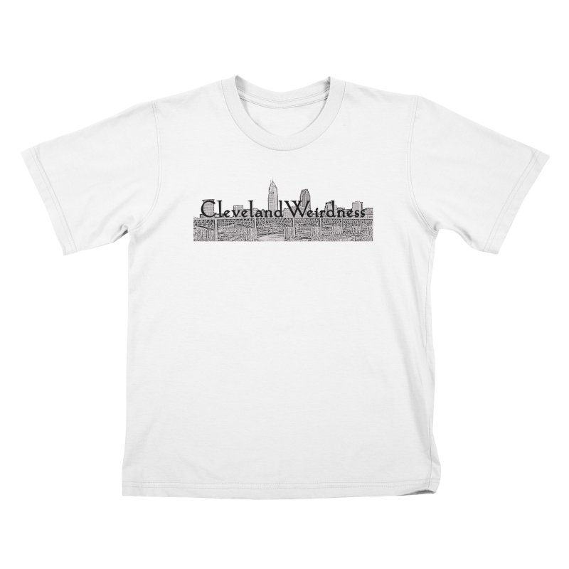 ClevelandWeirdness Skyline Logo in Grey Kids T-Shirt by ClevelandWeirdness Stuff