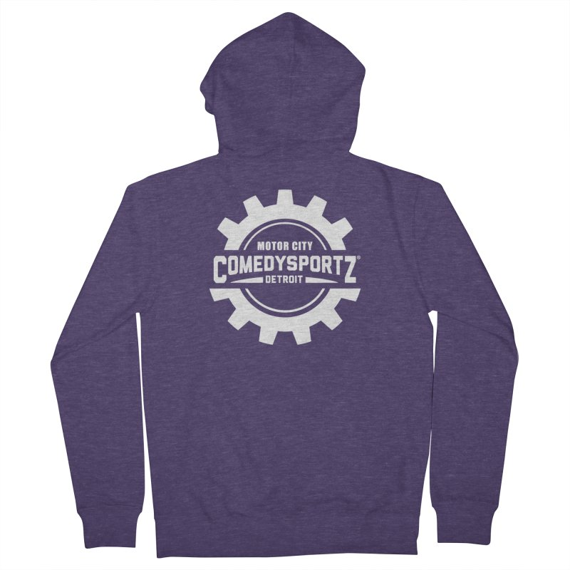 ComedySportz Logo White Men's French Terry Zip-Up Hoody by ComedySportz Detroit Merch