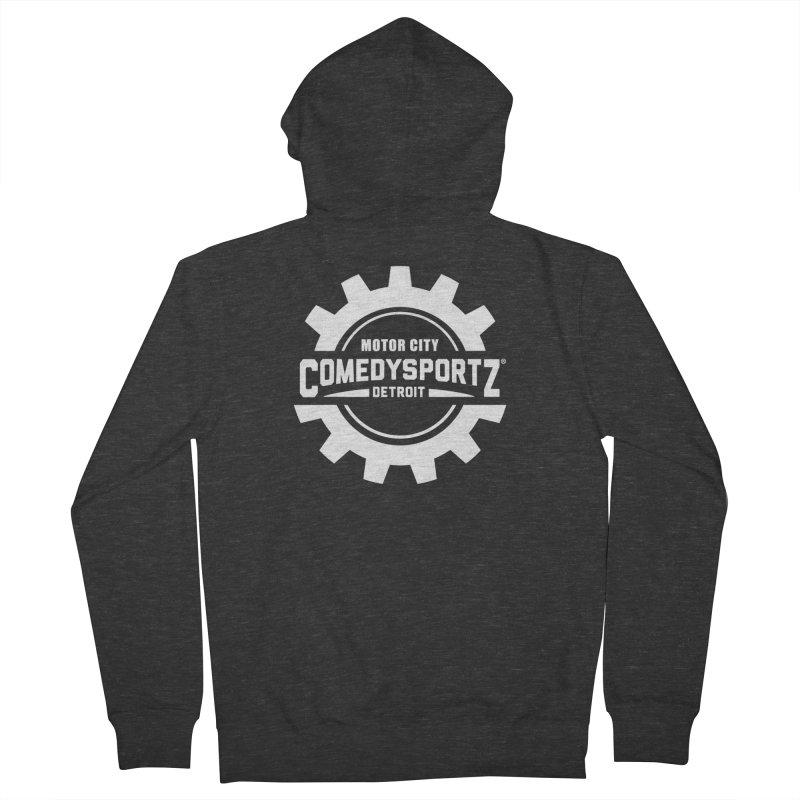 ComedySportz Logo White Men's French Terry Zip-Up Hoody by ComedySportz Detroit Merch