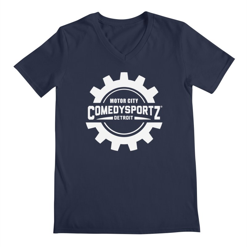 ComedySportz Logo White Men's Regular V-Neck by ComedySportz Detroit Merch