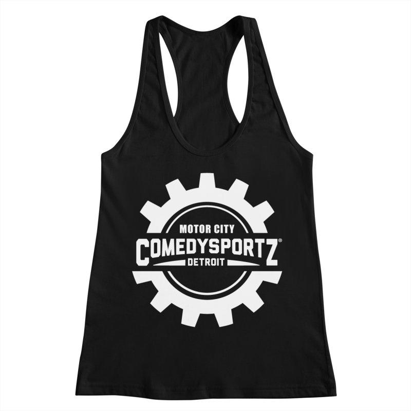 ComedySportz Logo White Women's Racerback Tank by ComedySportz Detroit Merch