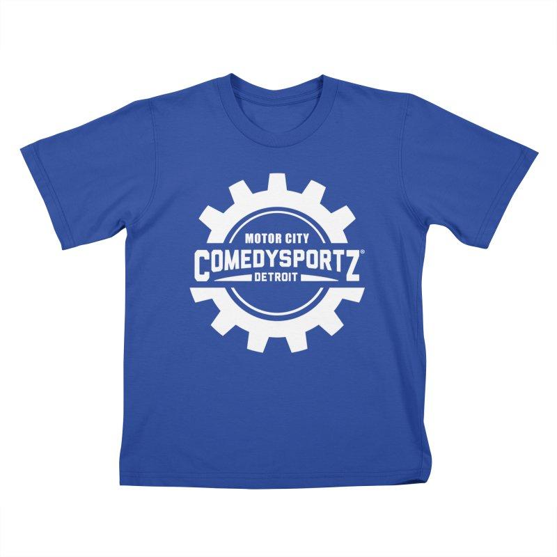 ComedySportz Logo White Kids T-Shirt by ComedySportz Detroit Merch