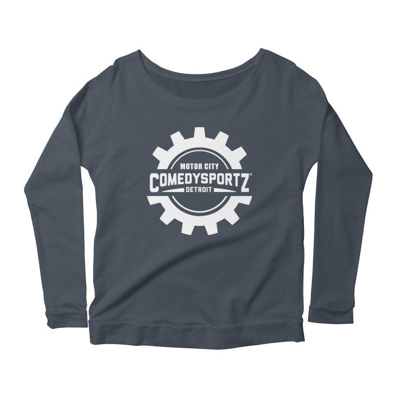 ComedySportz Logo White Women's Scoop Neck Longsleeve T-Shirt by ComedySportz Detroit Merch