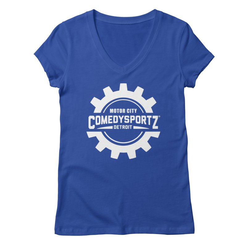 ComedySportz Logo White Women's Regular V-Neck by ComedySportz Detroit Merch