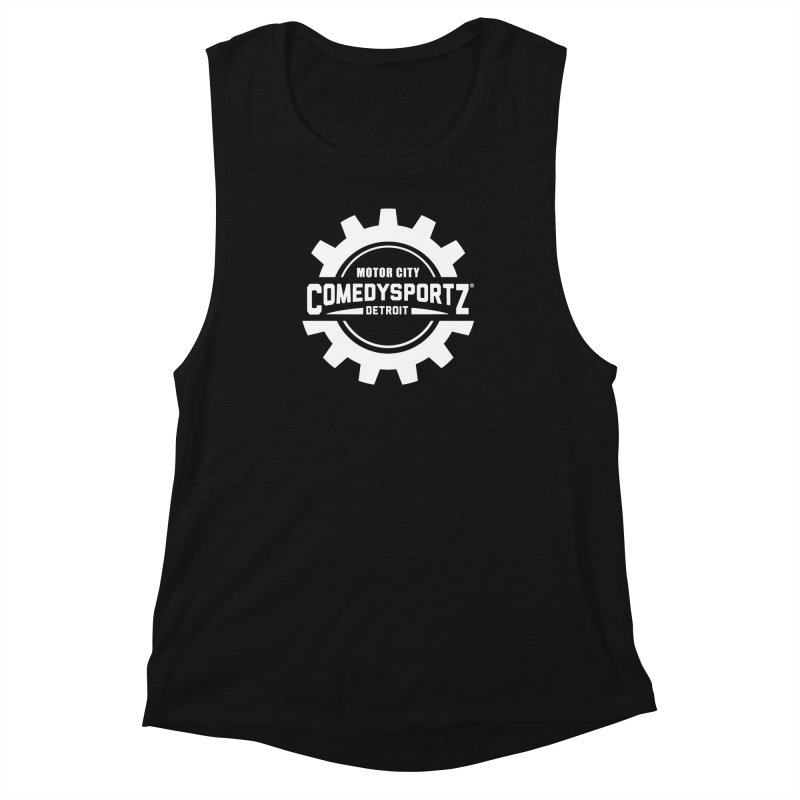 ComedySportz Logo White Women's Muscle Tank by ComedySportz Detroit Merch