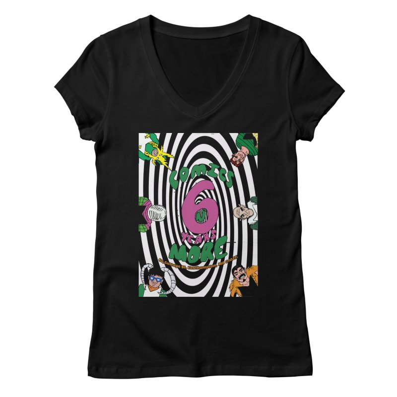 SIX YEARS WHITE SPIRAL Women's V-Neck by Comicsnmore's Artist Shop