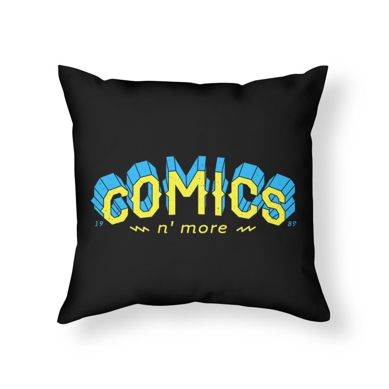 Yellow Blue Comics N' More Home Throw Pillow by Comixmonger's Closet