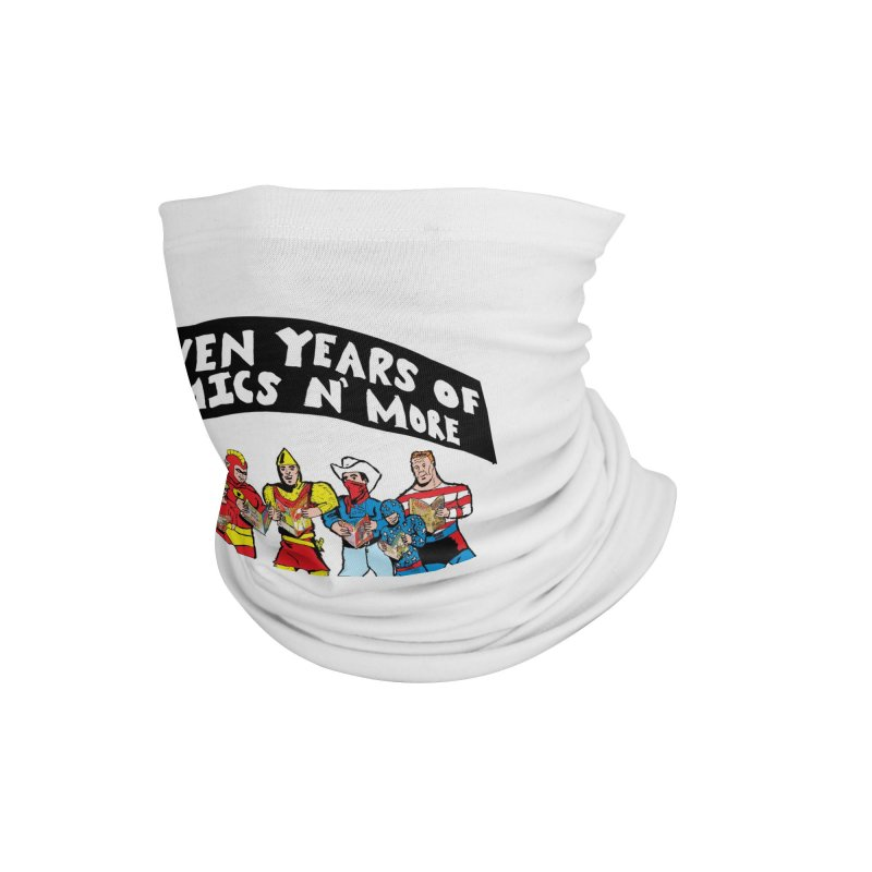 Seven Years Of Comics N More Black Banner Accessories Neck Gaiter by Comixmonger's Closet